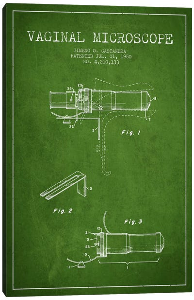 Vaginal Microscope Green Patent Blueprint Canvas Art Print