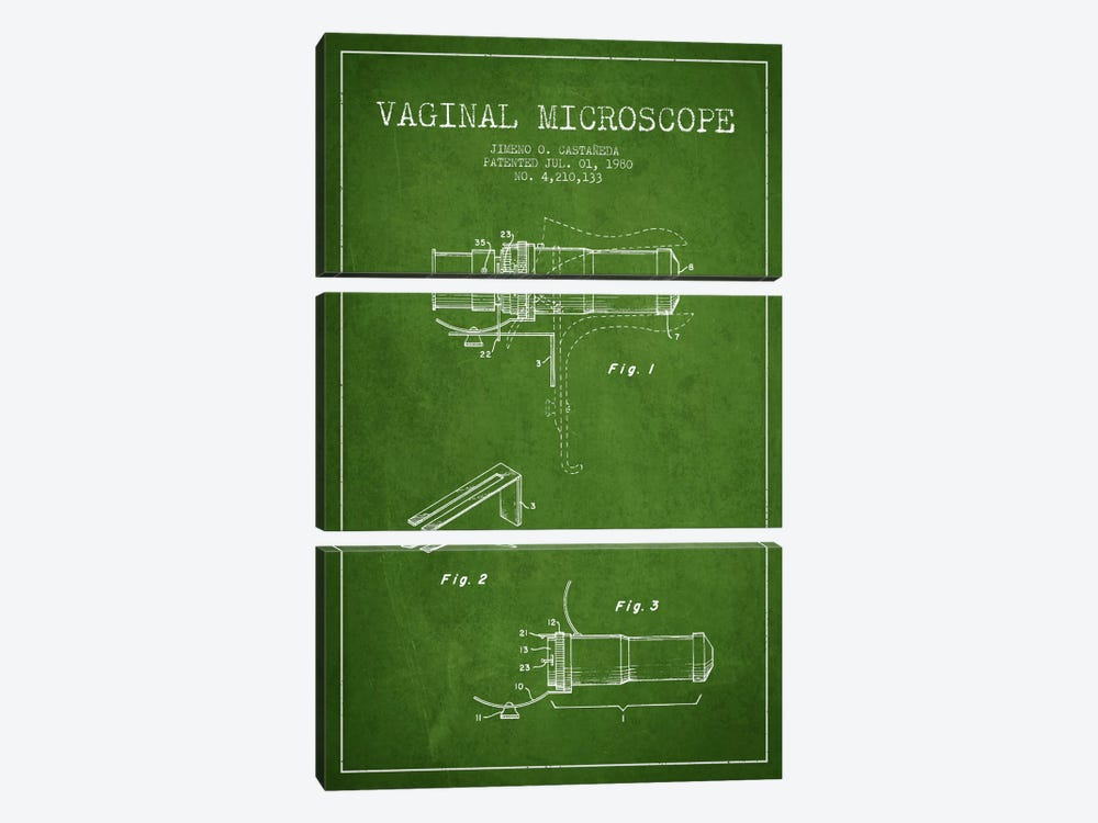 Vaginal Microscope Green Patent Blueprint by Aged Pixel 3-piece Canvas Artwork