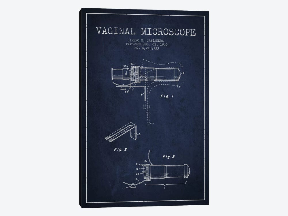 Vaginal Microscope Navy Blue Patent Blueprint by Aged Pixel 1-piece Art Print