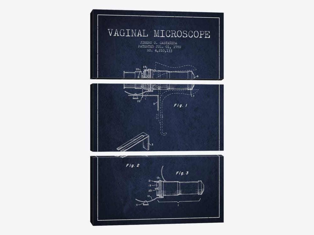 Vaginal Microscope Navy Blue Patent Blueprint by Aged Pixel 3-piece Art Print