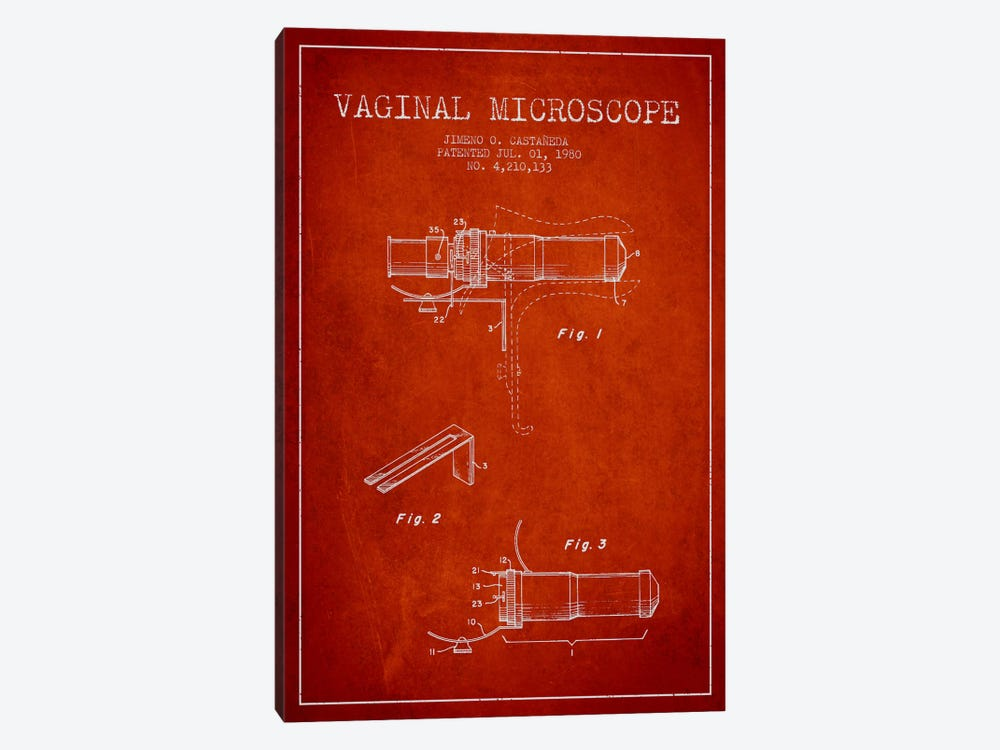 Vaginal Microscope Red Patent Blueprint by Aged Pixel 1-piece Canvas Wall Art
