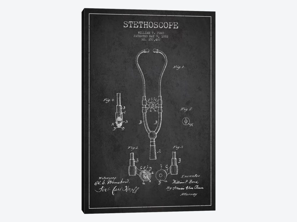 Stethoscope Charcoal Patent Blueprint by Aged Pixel 1-piece Canvas Wall Art