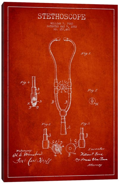 Stethoscope Red Patent Blueprint Canvas Art Print