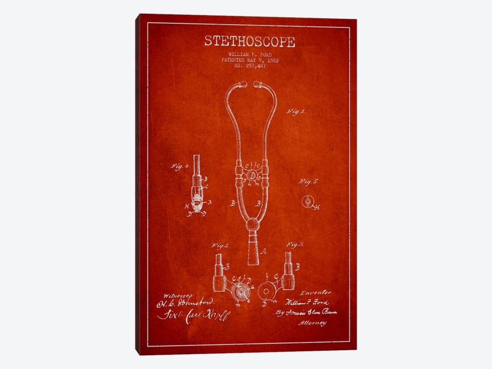 Stethoscope Red Patent Blueprint by Aged Pixel 1-piece Canvas Artwork