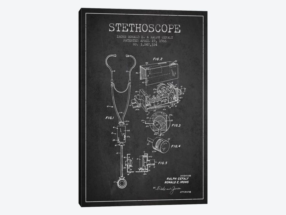 Stethoscope Charcoal Patent Blueprint by Aged Pixel 1-piece Canvas Art Print