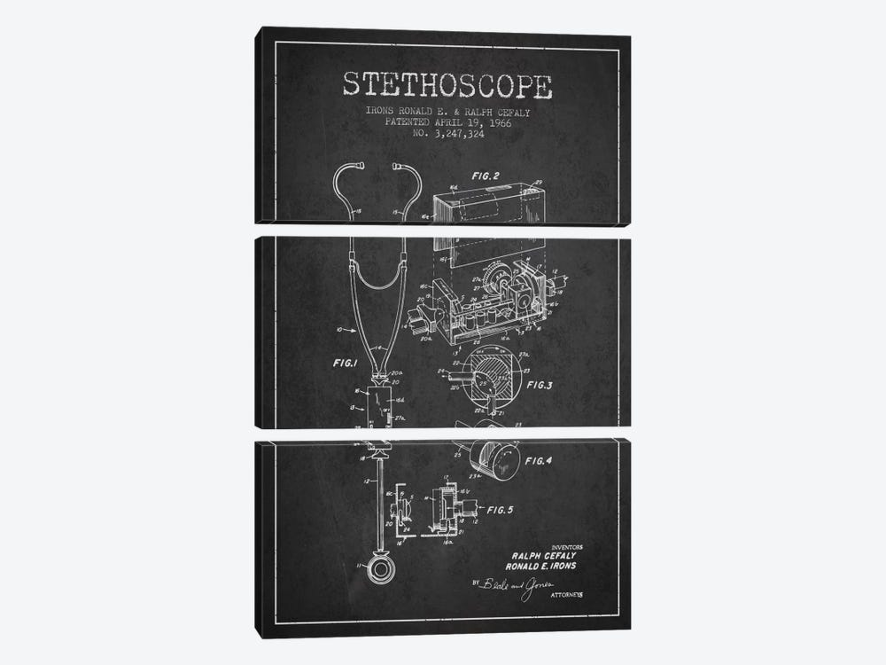 Stethoscope Charcoal Patent Blueprint by Aged Pixel 3-piece Art Print