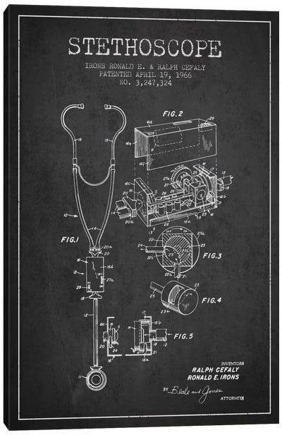 Stethoscope Charcoal Patent Blueprint Canvas Art Print