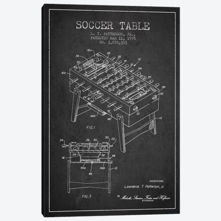 Soccer Table Charcoal Patent Blueprint Canvas Print #ADP166} by Aged Pixel Art Print