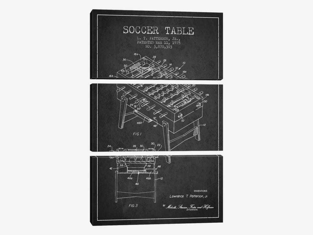 Soccer Table Charcoal Patent Blueprint by Aged Pixel 3-piece Canvas Wall Art