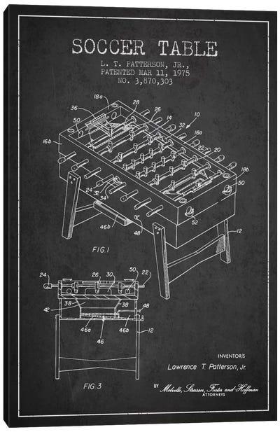 Soccer Table Charcoal Patent Blueprint Canvas Art Print