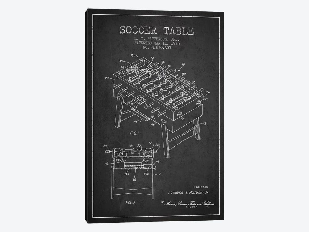 Soccer Table Charcoal Patent Blueprint by Aged Pixel 1-piece Canvas Artwork