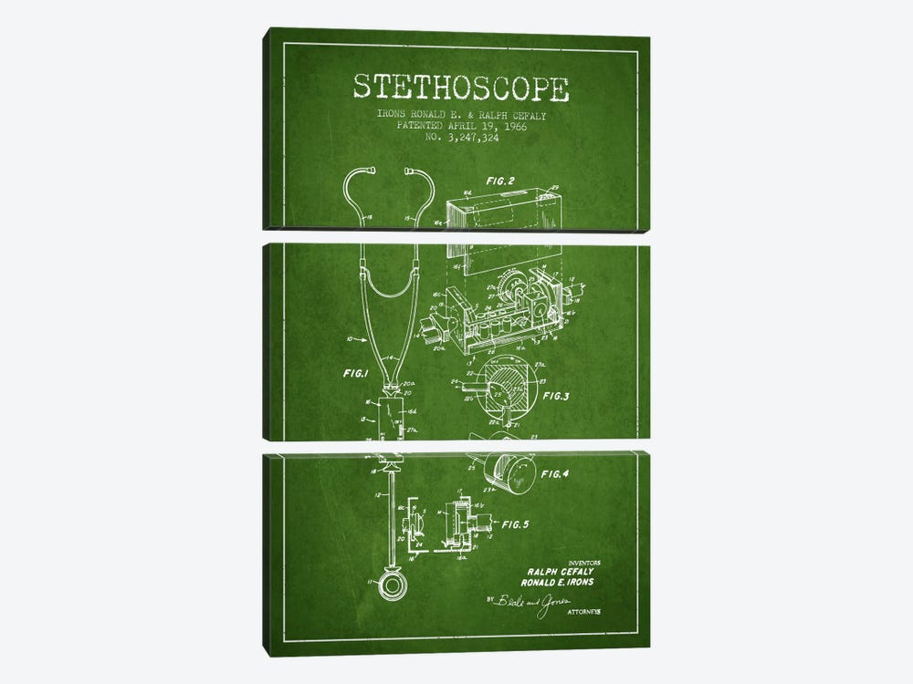 Stethoscope Green Patent Blueprint by Aged Pixel 3-piece Canvas Art Print