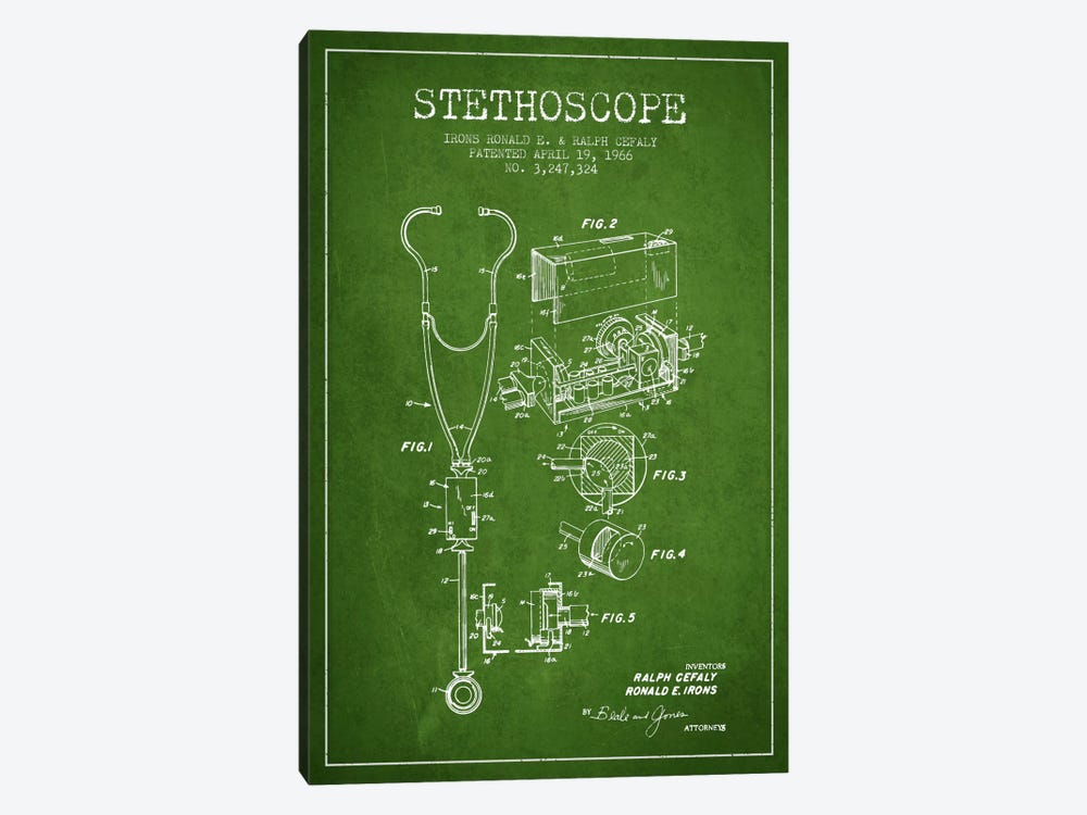 Stethoscope Green Patent Blueprint by Aged Pixel 1-piece Canvas Art Print