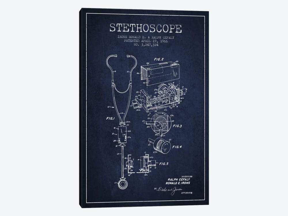 Stethoscope Navy Blue Patent Blueprint by Aged Pixel 1-piece Canvas Wall Art