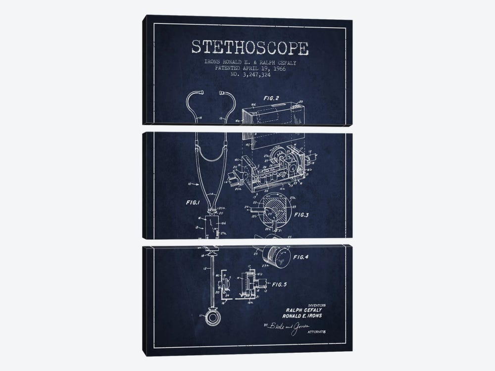Stethoscope Navy Blue Patent Blueprint by Aged Pixel 3-piece Canvas Artwork