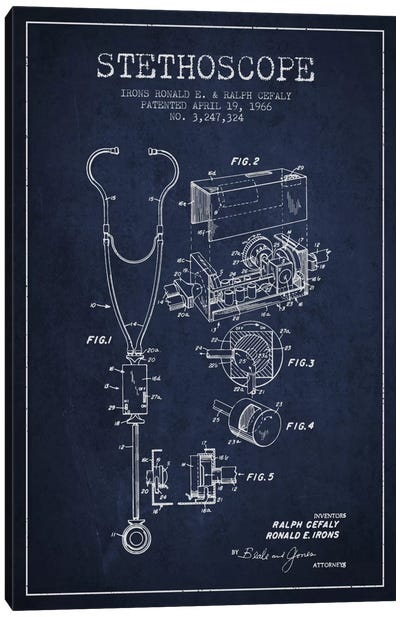 Stethoscope Navy Blue Patent Blueprint Canvas Art Print