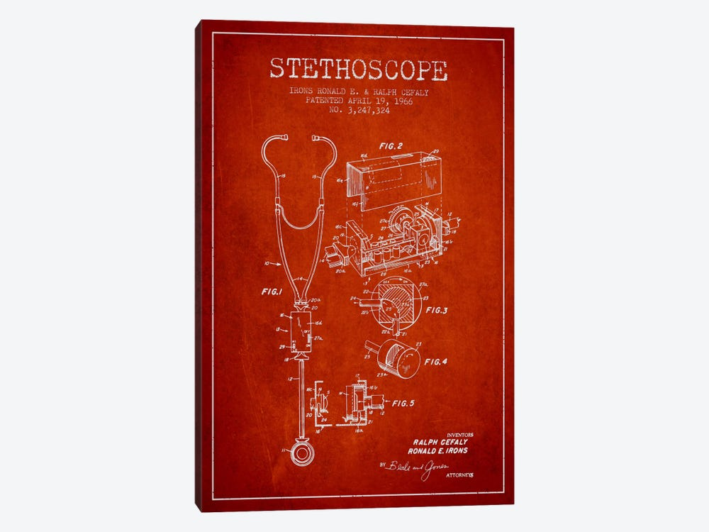 Stethoscope Red Patent Blueprint by Aged Pixel 1-piece Canvas Print