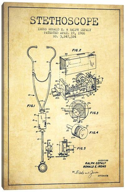 Stethoscope Vintage Patent Blueprint Canvas Art Print