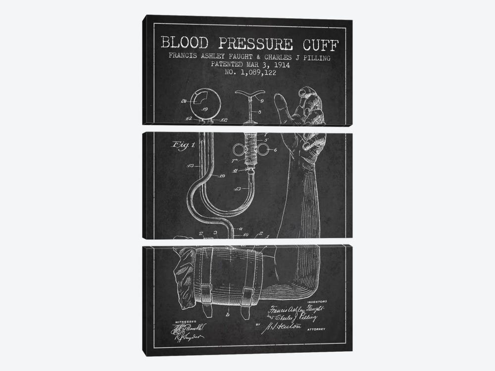 Blood Pressure Charcoal Patent Blueprint by Aged Pixel 3-piece Canvas Art Print