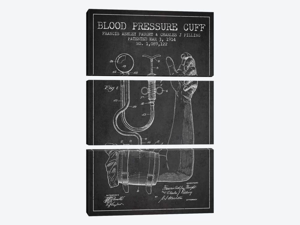 Blood Pressure Charcoal Patent Blueprint by Aged Pixel 3-piece Canvas Art Print