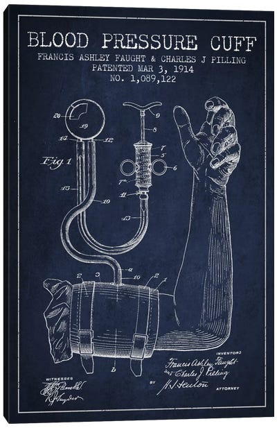 Blood Pressure Navy Blue Patent Blueprint Canvas Art Print