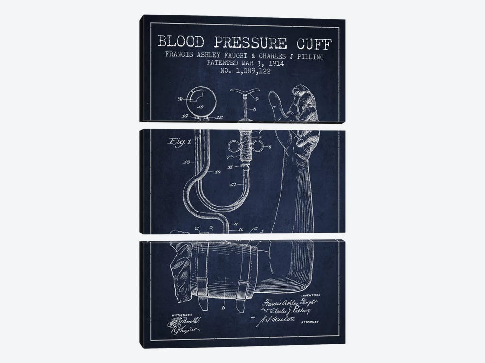 Blood Pressure Navy Blue Patent Blueprint by Aged Pixel 3-piece Art Print