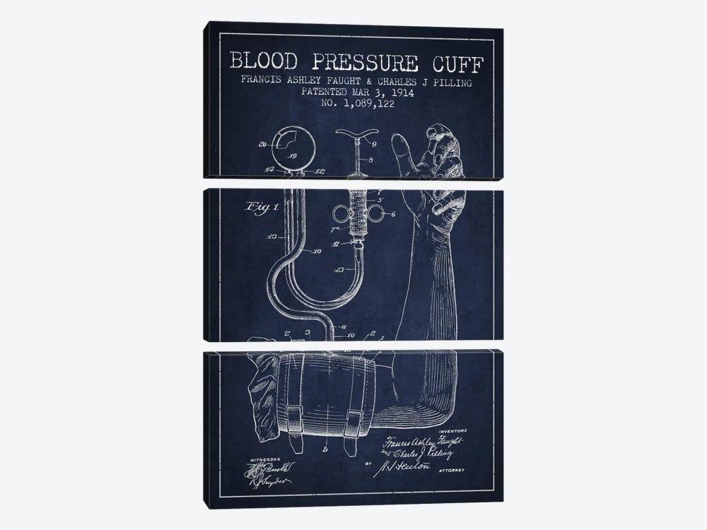 Blood Pressure Navy Blue Patent Blueprint by Aged Pixel 3-piece Art Print