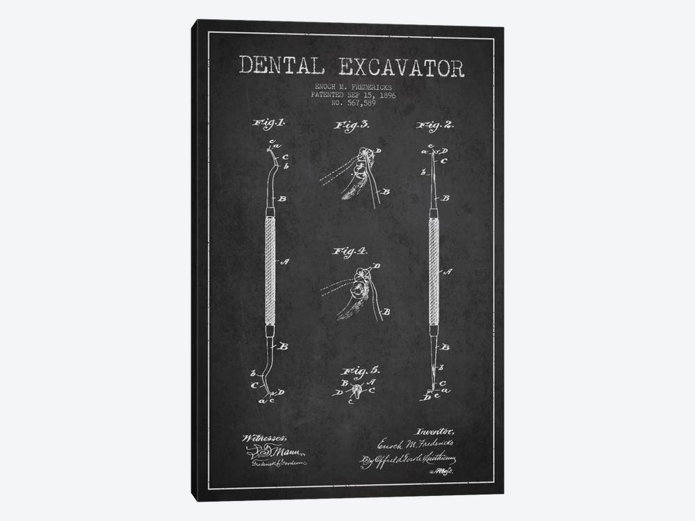 Dental Charcoal Patent Blueprint by Aged Pixel 1-piece Canvas Art