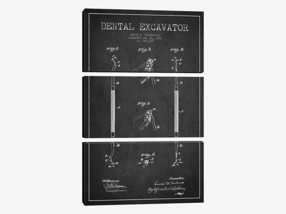 Dental Charcoal Patent Blueprint by Aged Pixel 3-piece Canvas Art