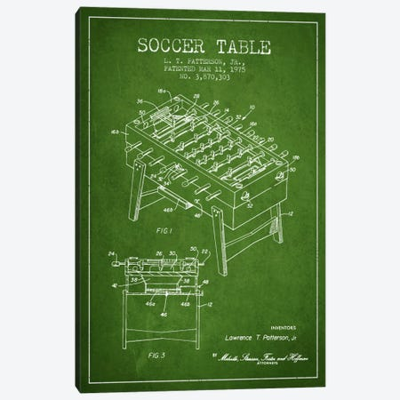Soccer Table Green Patent Blueprint Canvas Print #ADP167} by Aged Pixel Canvas Art Print