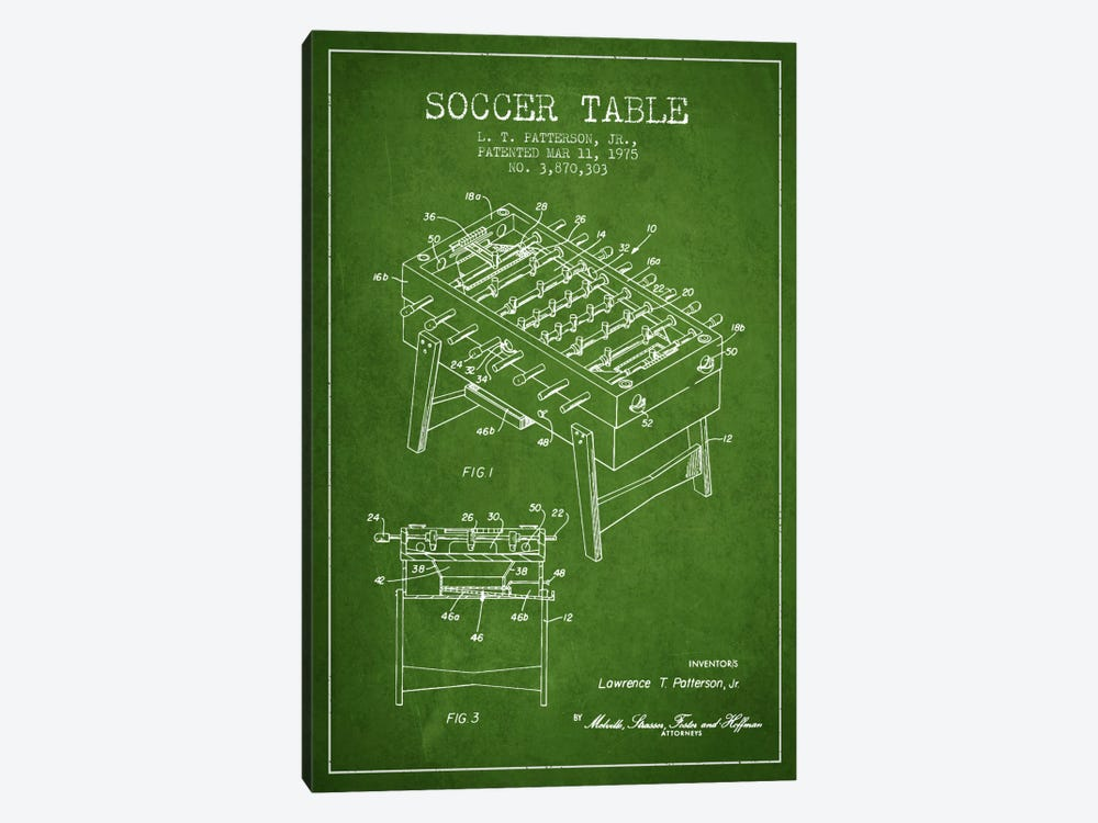 Soccer Table Green Patent Blueprint by Aged Pixel 1-piece Canvas Print