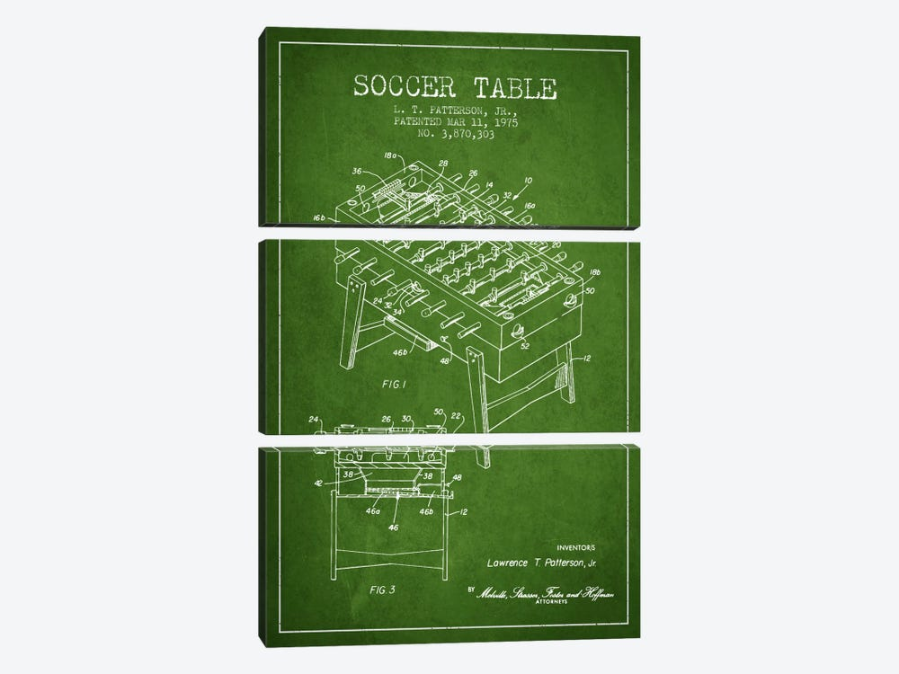 Soccer Table Green Patent Blueprint by Aged Pixel 3-piece Art Print