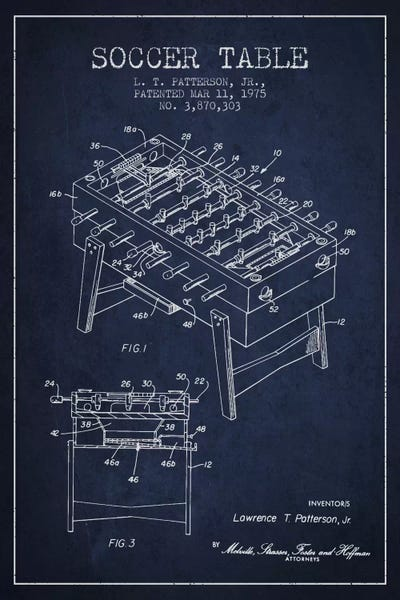 Soccer Table Navy Blue Patent Blueprint Canvas Ar