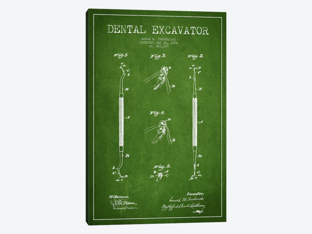 Dental Green Patent Blueprint 1-piece Canvas Artwork