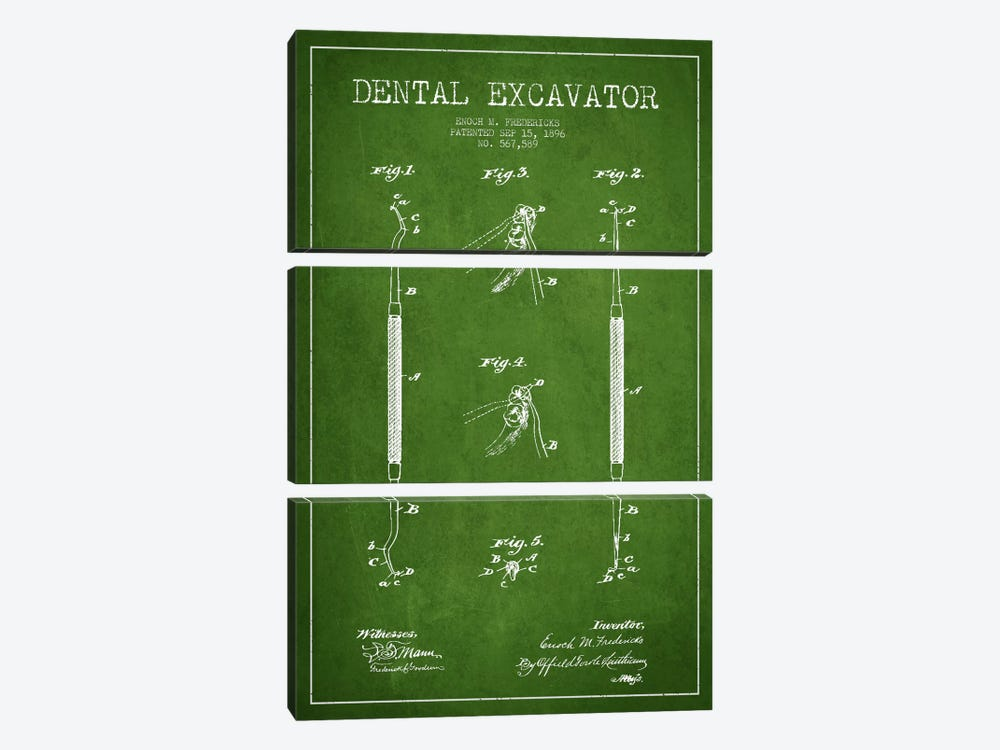 Dental Green Patent Blueprint by Aged Pixel 3-piece Canvas Art