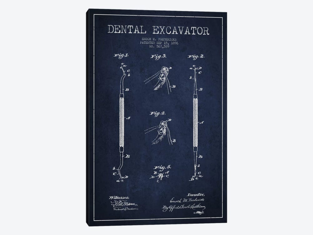 Dental Navy Blue Patent Blueprint by Aged Pixel 1-piece Art Print