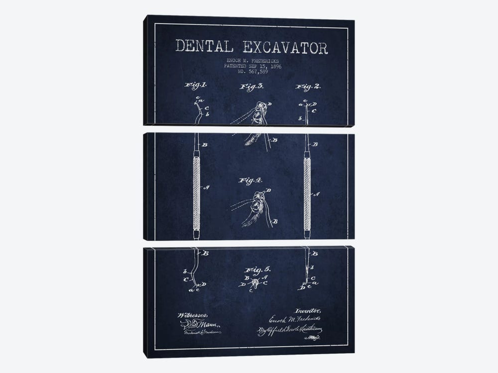 Dental Navy Blue Patent Blueprint by Aged Pixel 3-piece Canvas Art Print