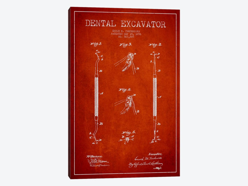 Dental Red Patent Blueprint by Aged Pixel 1-piece Canvas Artwork