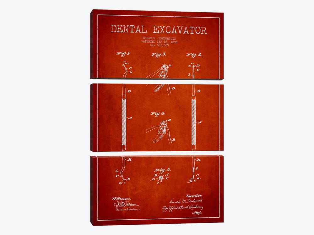 Dental Red Patent Blueprint by Aged Pixel 3-piece Canvas Wall Art