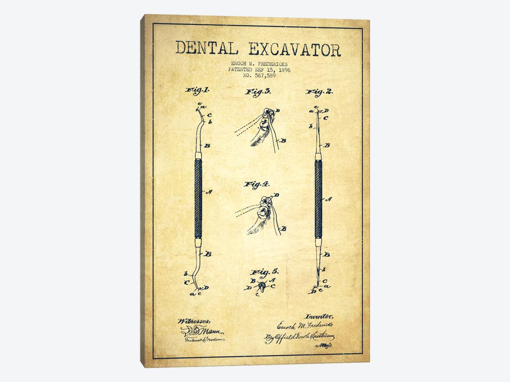 Dental Vintage Patent Blueprint by Aged Pixel 1-piece Art Print