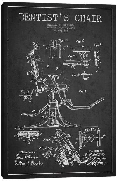Dentist Chair Charcoal Patent Blueprint Canvas Art Print