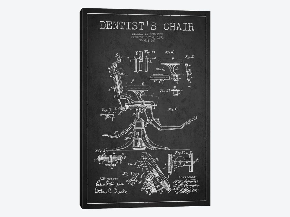 Dentist Chair Charcoal Patent Blueprint by Aged Pixel 1-piece Canvas Wall Art