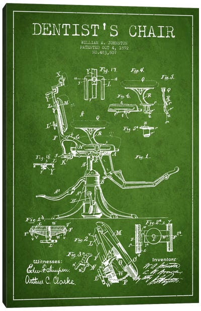 Dentist Chair Green Patent Blueprint Canvas Print #ADP1685