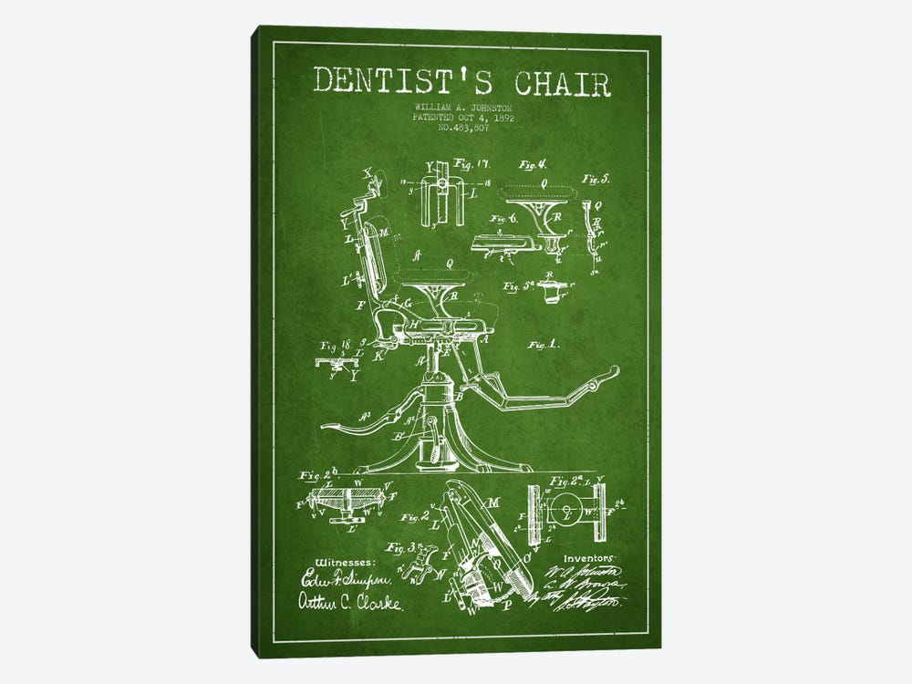 Dentist Chair Green Patent Blueprint by Aged Pixel 1-piece Canvas Art Print