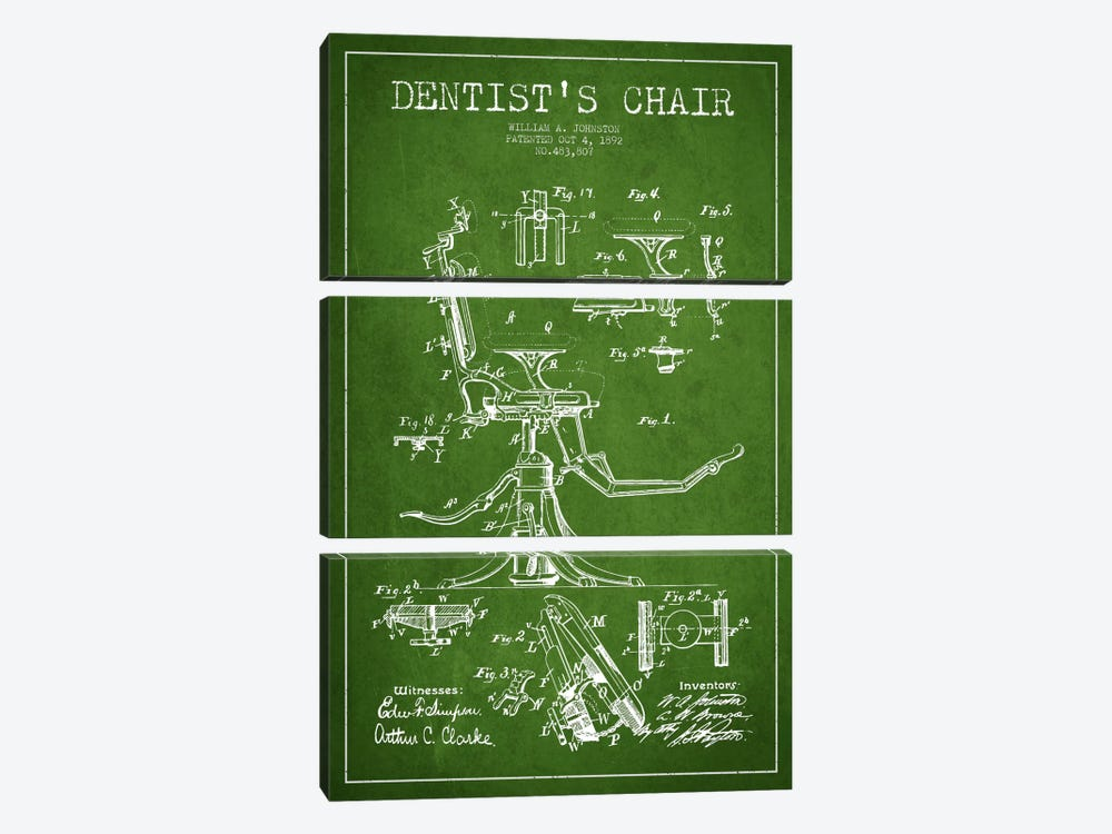 Dentist Chair Green Patent Blueprint by Aged Pixel 3-piece Canvas Print