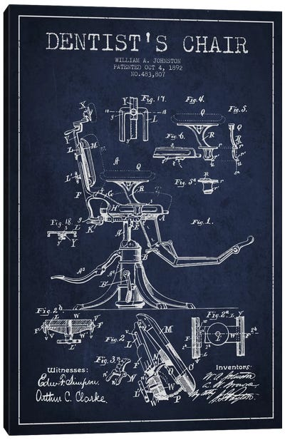 Dentist Chair Navy Blue Patent Blueprint Canvas Print #ADP1686