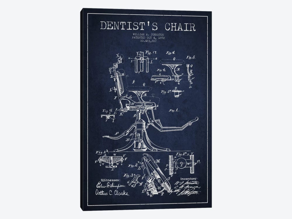 Dentist Chair Navy Blue Patent Blueprint 1-piece Canvas Artwork