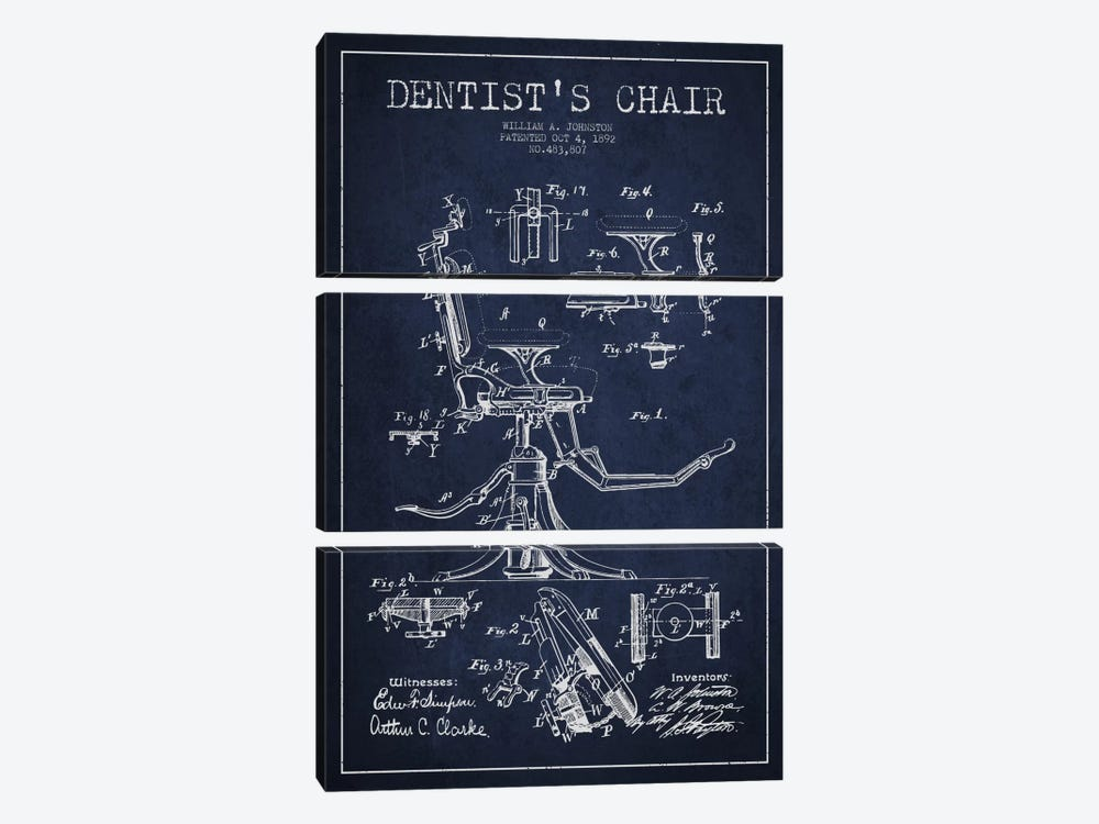 Dentist Chair Navy Blue Patent Blueprint 3-piece Canvas Artwork