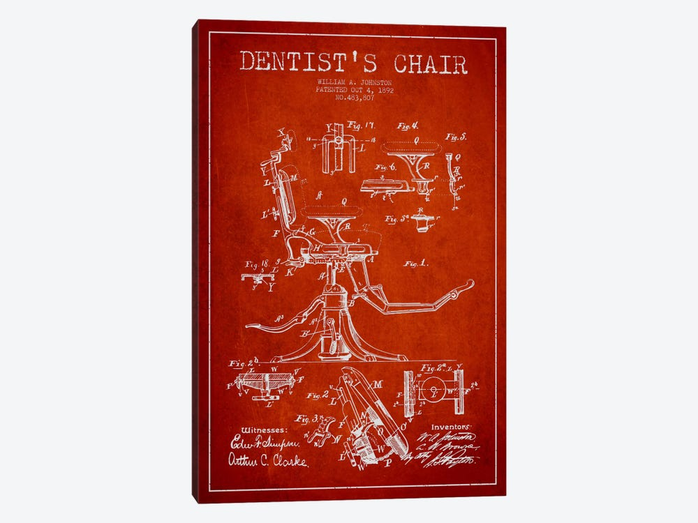 Dentist Chair Red Patent Blueprint by Aged Pixel 1-piece Canvas Print