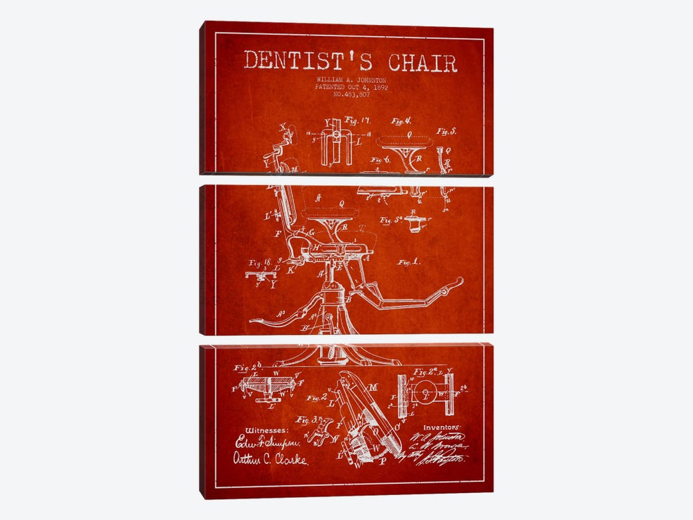 Dentist Chair Red Patent Blueprint by Aged Pixel 3-piece Art Print